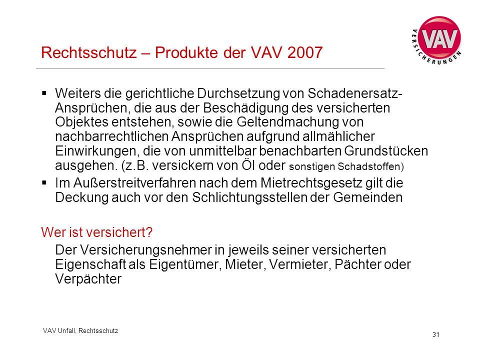 VAV Unfall, Rechtsschutz 31 Rechtsschutz – Produkte der VAV 2007  Weiters die gerichtliche Durchsetzung von Schadenersatz- Ansprüchen, die aus der Beschädigung des versicherten Objektes entstehen, sowie die Geltendmachung von nachbarrechtlichen Ansprüchen aufgrund allmählicher Einwirkungen, die von unmittelbar benachbarten Grundstücken ausgehen.