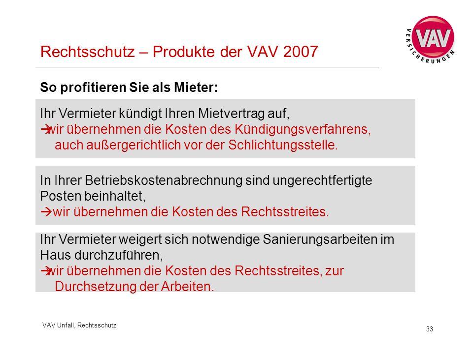 VAV Unfall, Rechtsschutz 33 Rechtsschutz – Produkte der VAV 2007 Ihr Vermieter kündigt Ihren Mietvertrag auf,  wir übernehmen die Kosten des Kündigungsverfahrens, auch außergerichtlich vor der Schlichtungsstelle.