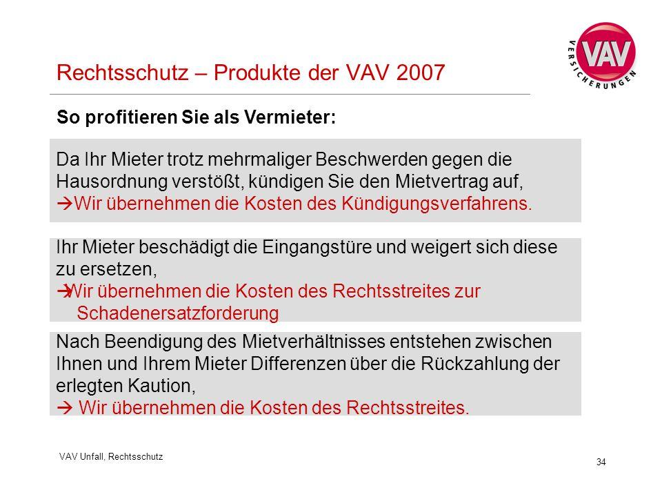 VAV Unfall, Rechtsschutz 34 Rechtsschutz – Produkte der VAV 2007 Da Ihr Mieter trotz mehrmaliger Beschwerden gegen die Hausordnung verstößt, kündigen Sie den Mietvertrag auf,  Wir übernehmen die Kosten des Kündigungsverfahrens.