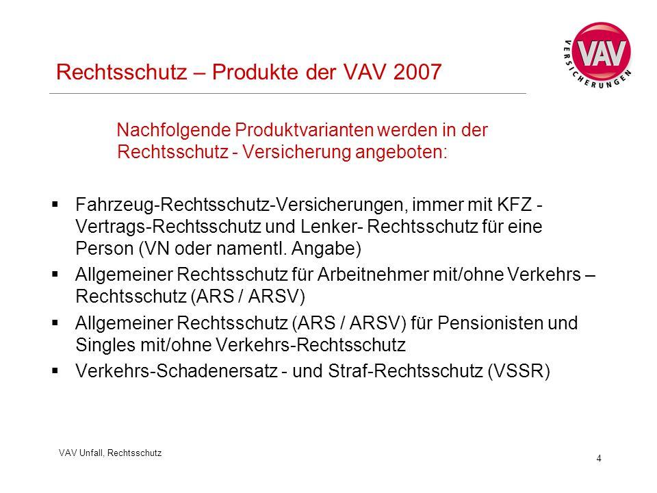 VAV Unfall, Rechtsschutz 4 Rechtsschutz – Produkte der VAV 2007 Nachfolgende Produktvarianten werden in der Rechtsschutz - Versicherung angeboten:  Fahrzeug-Rechtsschutz-Versicherungen, immer mit KFZ - Vertrags-Rechtsschutz und Lenker- Rechtsschutz für eine Person (VN oder namentl.