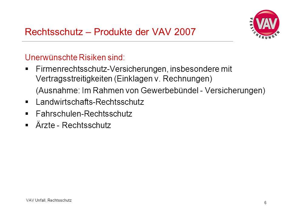 VAV Unfall, Rechtsschutz 6 Rechtsschutz – Produkte der VAV 2007 Unerwünschte Risiken sind:  Firmenrechtsschutz-Versicherungen, insbesondere mit Vertragsstreitigkeiten (Einklagen v.