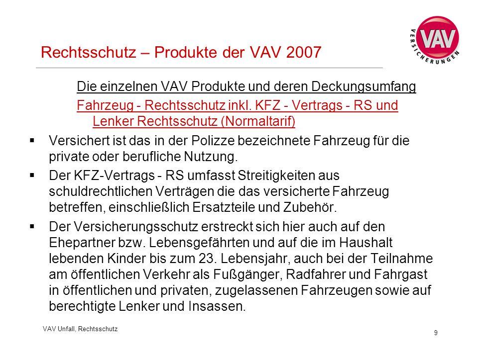VAV Unfall, Rechtsschutz 9 Rechtsschutz – Produkte der VAV 2007 Die einzelnen VAV Produkte und deren Deckungsumfang Fahrzeug - Rechtsschutz inkl. KFZ