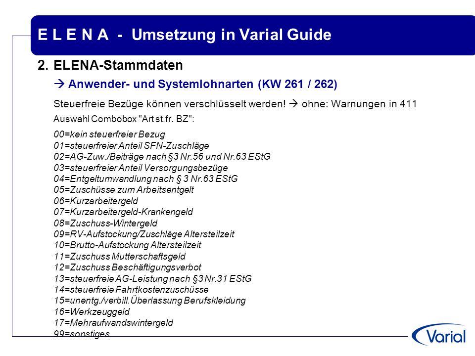 E L E N A - Umsetzung in Varial Guide 2.ELENA-Stammdaten  Anwender- und Systemlohnarten (KW 261 / 262) Steuerfreie Bezüge können verschlüsselt werden