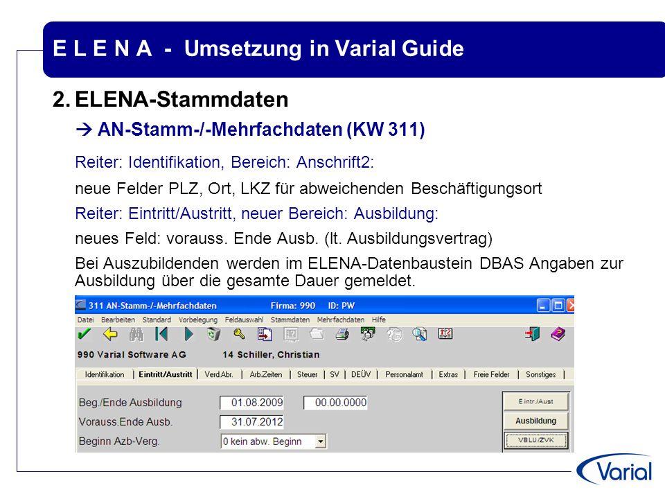 E L E N A - Umsetzung in Varial Guide 2.ELENA-Stammdaten  AN-Stamm-/-Mehrfachdaten (KW 311) Reiter: Identifikation, Bereich: Anschrift2: neue Felder