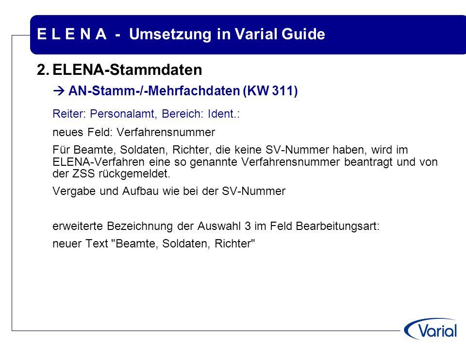 E L E N A - Umsetzung in Varial Guide 2.ELENA-Stammdaten  AN-Stamm-/-Mehrfachdaten (KW 311) Reiter: Personalamt, Bereich: Ident.: neues Feld: Verfahr