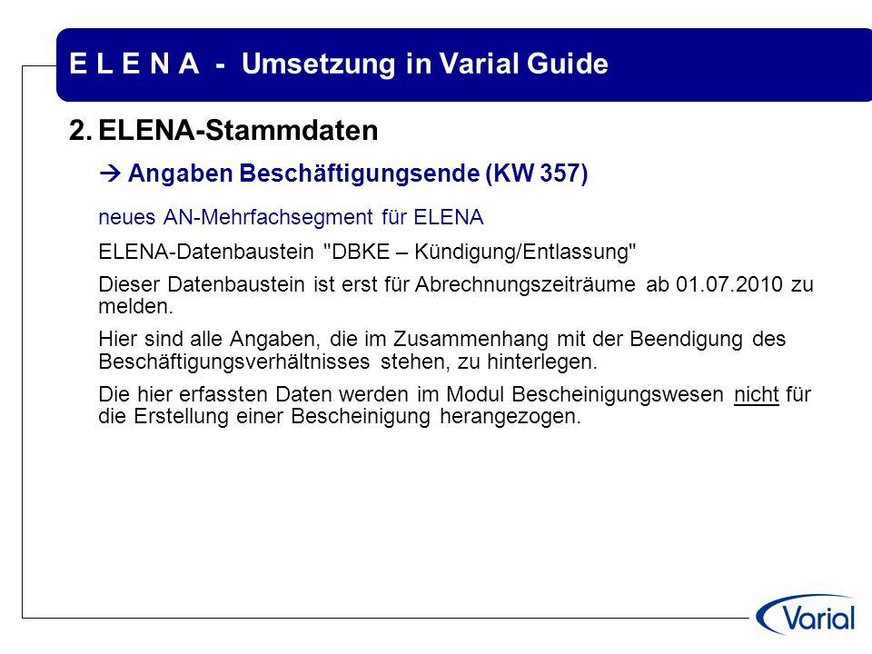 E L E N A - Umsetzung in Varial Guide 2.ELENA-Stammdaten  Angaben Beschäftigungsende (KW 357) neues AN-Mehrfachsegment für ELENA ELENA-Datenbaustein