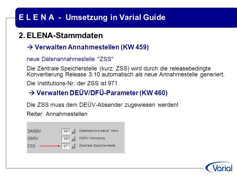 E L E N A - Umsetzung in Varial Guide 2.ELENA-Stammdaten  Verwalten Annahmestellen (KW 459) neue Datenannahmestelle