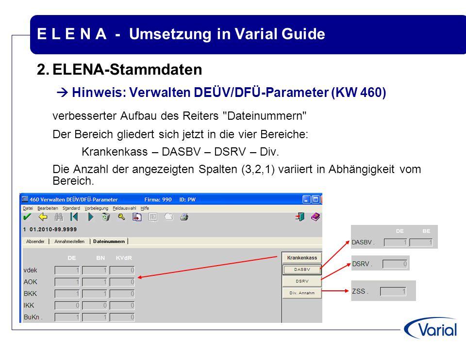 E L E N A - Umsetzung in Varial Guide 2.ELENA-Stammdaten  Hinweis: Verwalten DEÜV/DFÜ-Parameter (KW 460) verbesserter Aufbau des Reiters