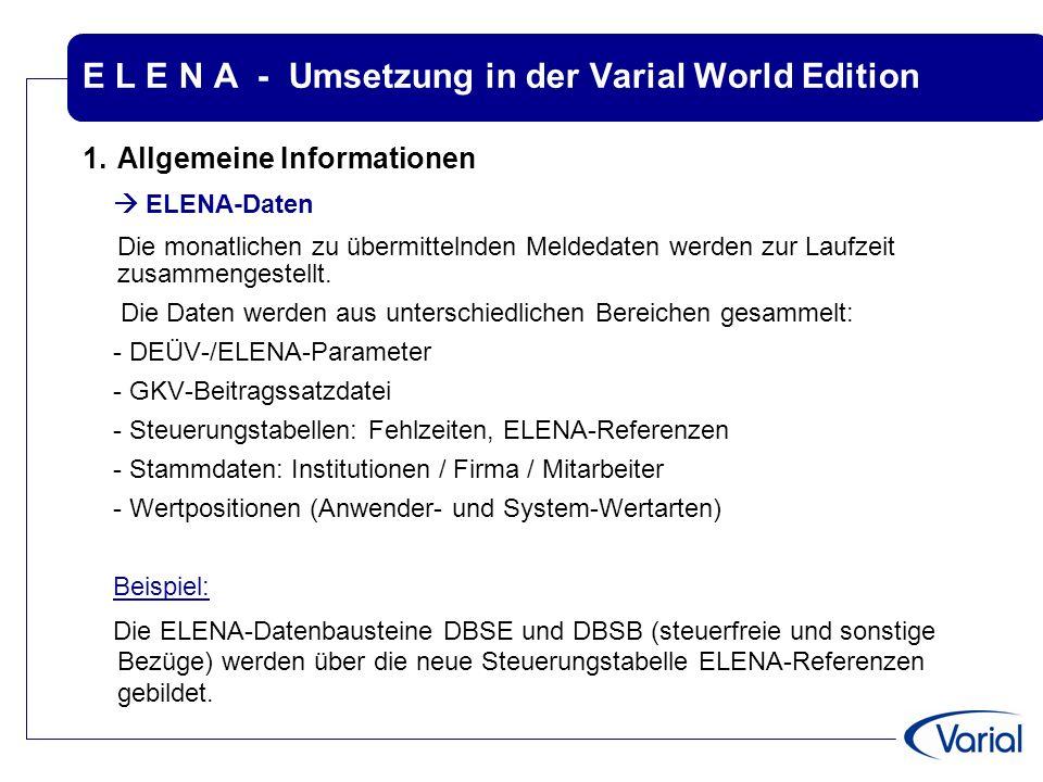 E L E N A - Umsetzung in der Varial World Edition 1.Allgemeine Informationen  ELENA-Daten Die monatlichen zu übermittelnden Meldedaten werden zur Lau