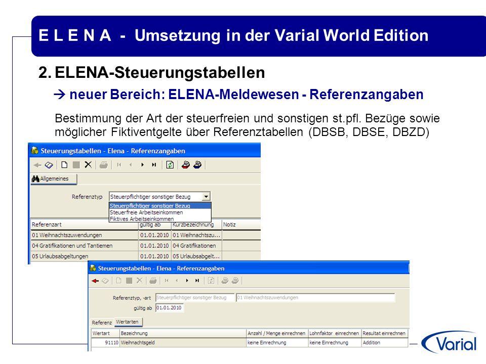 E L E N A - Umsetzung in der Varial World Edition 2.ELENA-Steuerungstabellen  neuer Bereich: ELENA-Meldewesen - Referenzangaben Bestimmung der Art de