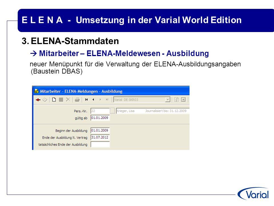 E L E N A - Umsetzung in der Varial World Edition 3.ELENA-Stammdaten  Mitarbeiter – ELENA-Meldewesen - Ausbildung neuer Menüpunkt für die Verwaltung