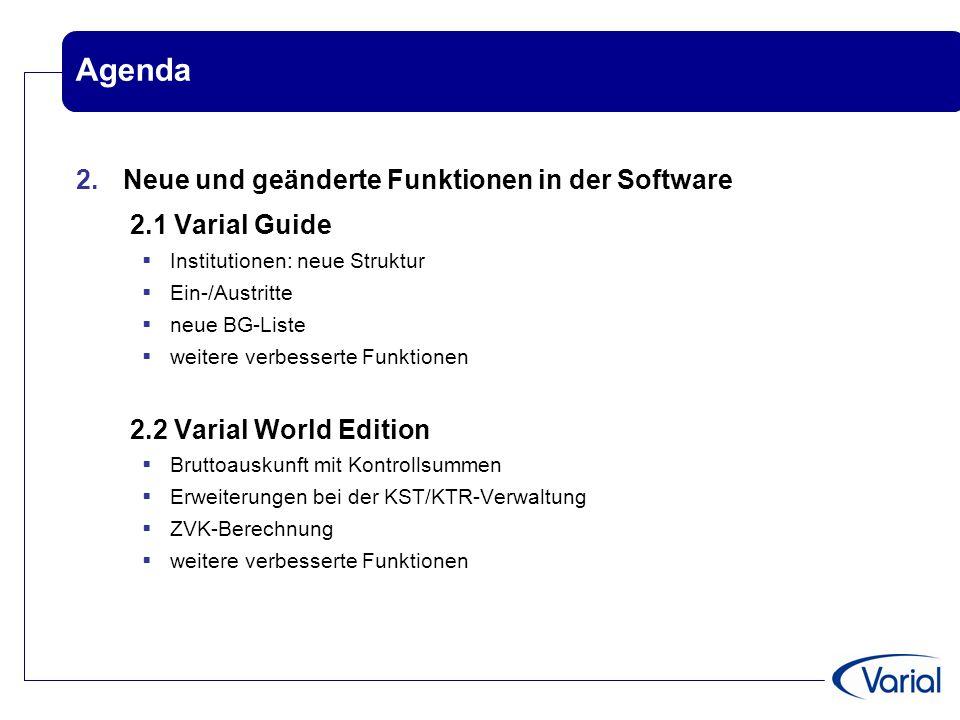 Agenda 2. Neue und geänderte Funktionen in der Software 2.1 Varial Guide  Institutionen: neue Struktur  Ein-/Austritte  neue BG-Liste  weitere ver