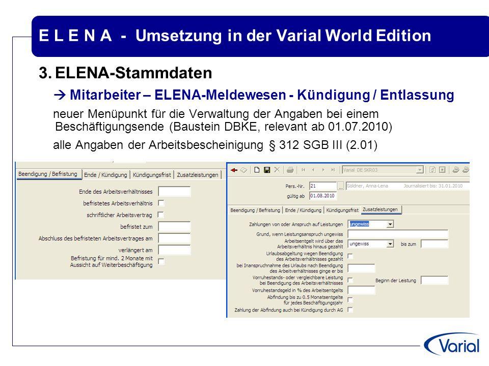 E L E N A - Umsetzung in der Varial World Edition 3.ELENA-Stammdaten  Mitarbeiter – ELENA-Meldewesen - Kündigung / Entlassung neuer Menüpunkt für die