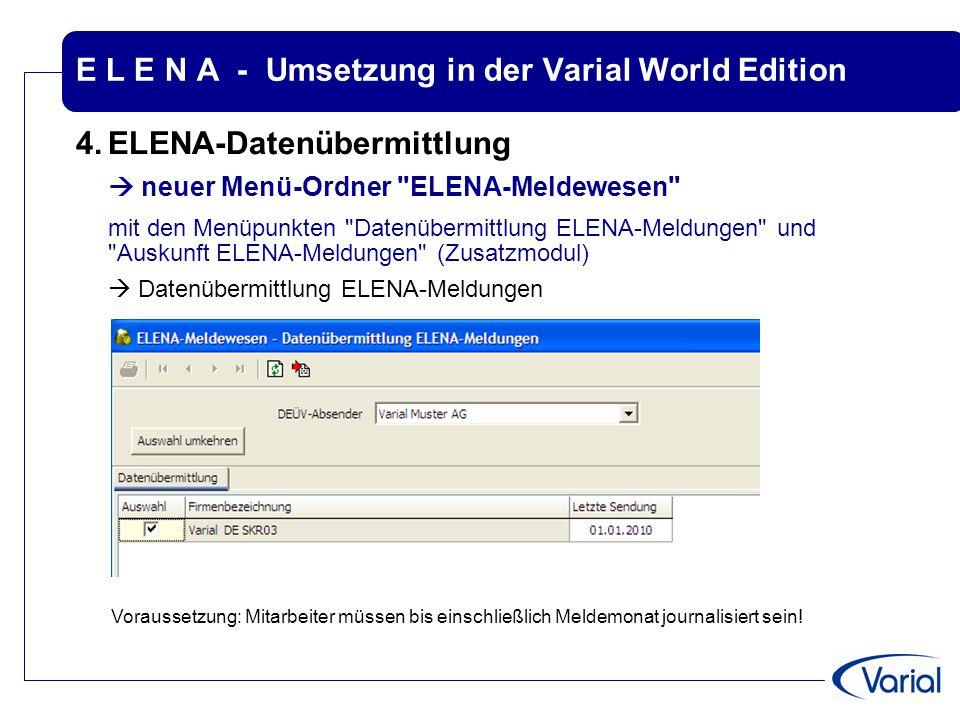E L E N A - Umsetzung in der Varial World Edition 4.ELENA-Datenübermittlung  neuer Menü-Ordner