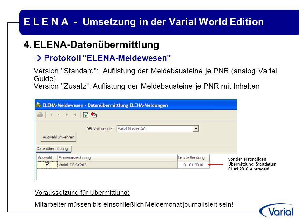 E L E N A - Umsetzung in der Varial World Edition 4.ELENA-Datenübermittlung  Protokoll