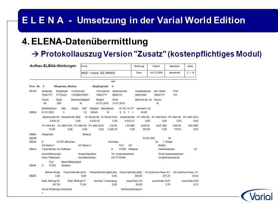 E L E N A - Umsetzung in der Varial World Edition 4.ELENA-Datenübermittlung  Protokollauszug Version