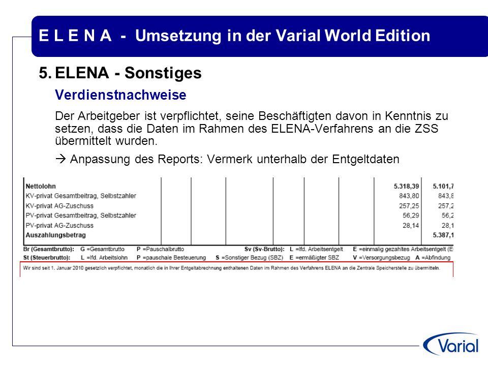 E L E N A - Umsetzung in der Varial World Edition 5.ELENA - Sonstiges Verdienstnachweise Der Arbeitgeber ist verpflichtet, seine Beschäftigten davon i