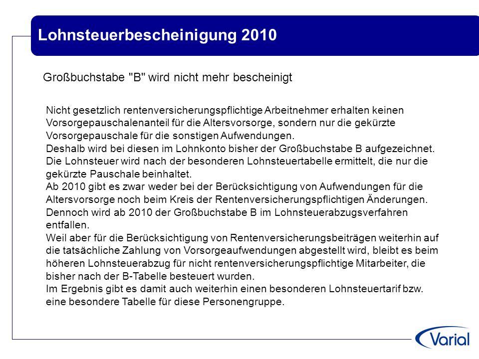Lohnsteuerbescheinigung 2010 Großbuchstabe