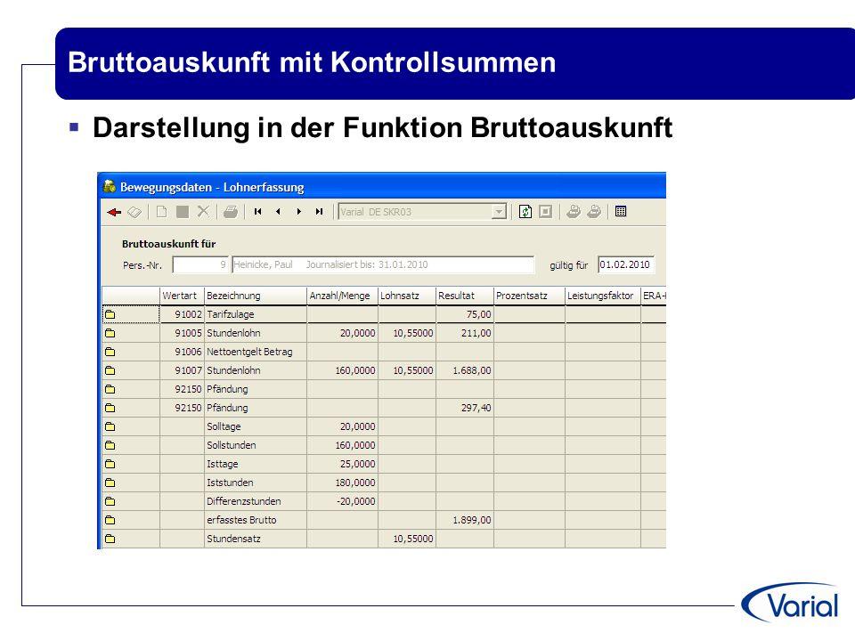 Bruttoauskunft mit Kontrollsummen  Darstellung in der Funktion Bruttoauskunft