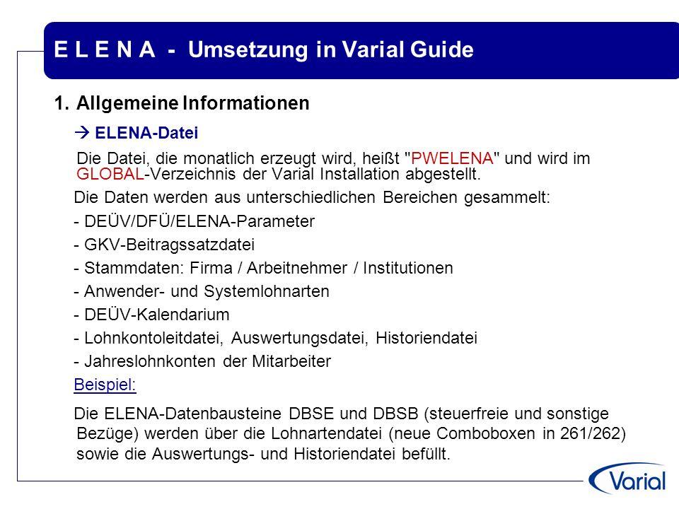 E L E N A - Umsetzung in Varial Guide 1.Allgemeine Informationen  ELENA-Datei Die Datei, die monatlich erzeugt wird, heißt