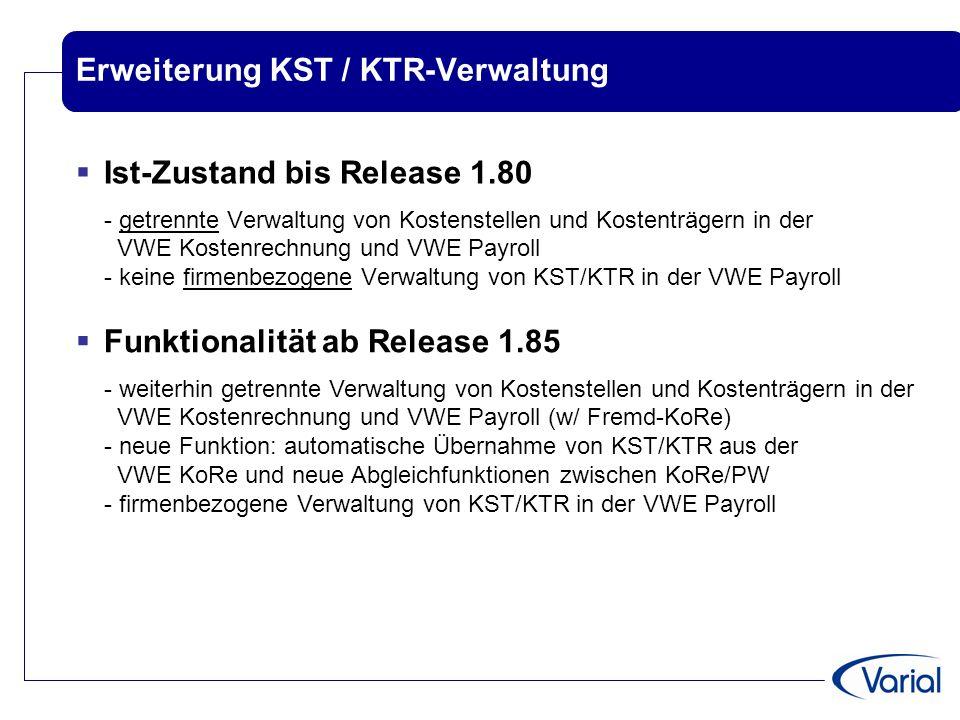 Erweiterung KST / KTR-Verwaltung  Ist-Zustand bis Release 1.80 - getrennte Verwaltung von Kostenstellen und Kostenträgern in der VWE Kostenrechnung u