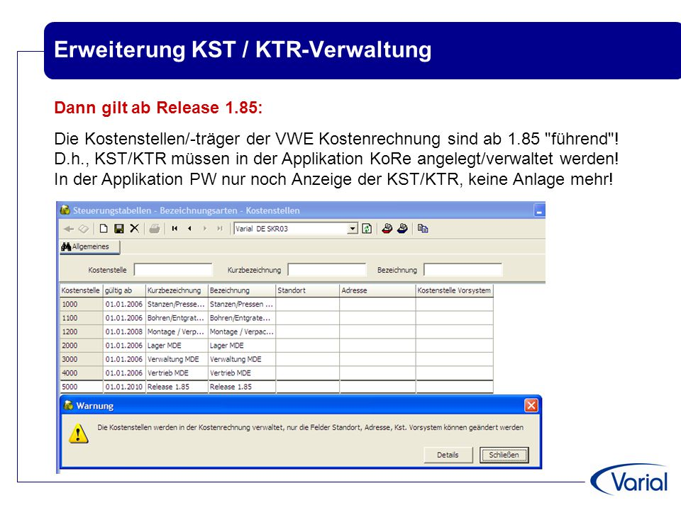 Erweiterung KST / KTR-Verwaltung Dann gilt ab Release 1.85: Die Kostenstellen/-träger der VWE Kostenrechnung sind ab 1.85