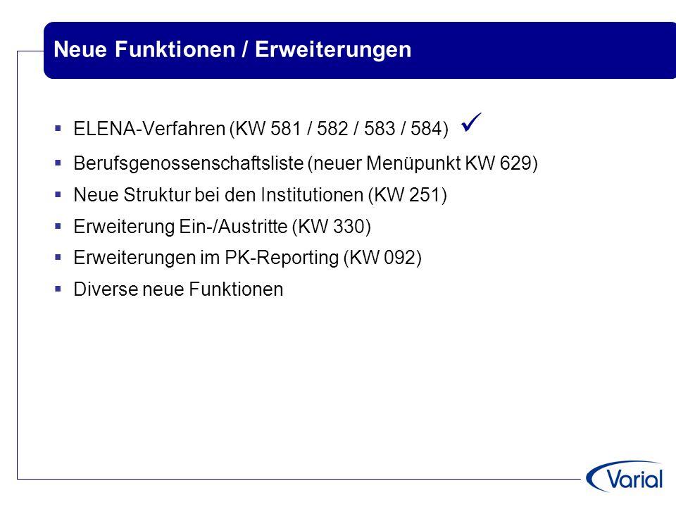 Neue Funktionen / Erweiterungen  ELENA-Verfahren (KW 581 / 582 / 583 / 584)  Berufsgenossenschaftsliste (neuer Menüpunkt KW 629)  Neue Struktur bei