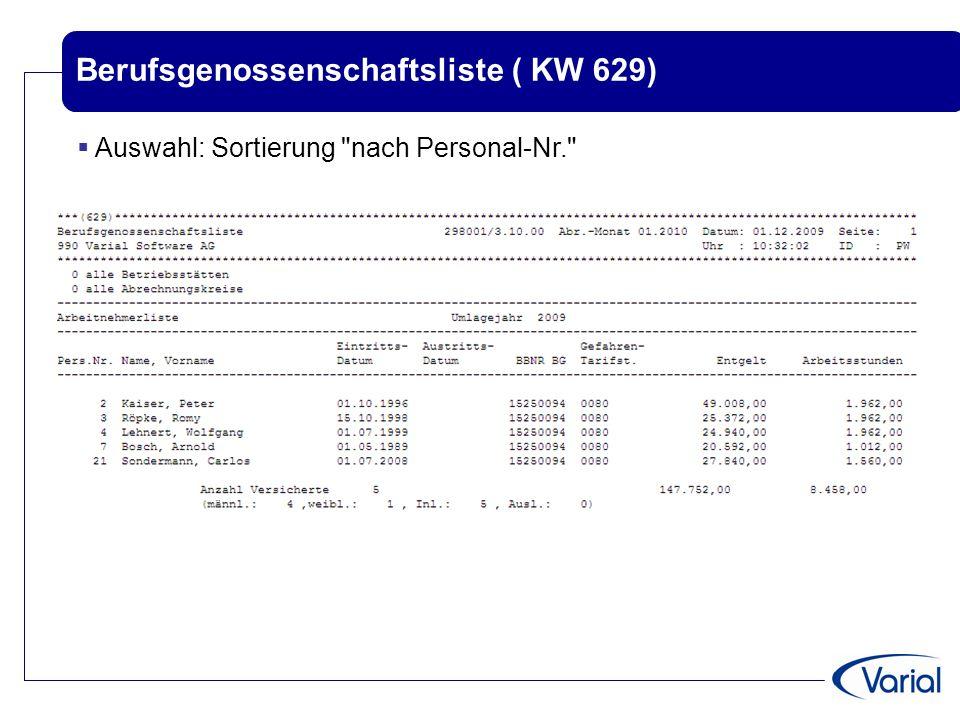 Berufsgenossenschaftsliste ( KW 629)  Auswahl: Sortierung