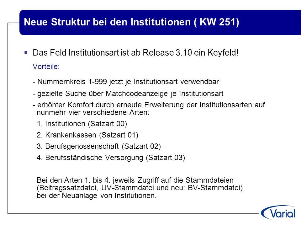 Neue Struktur bei den Institutionen ( KW 251)  Das Feld Institutionsart ist ab Release 3.10 ein Keyfeld! Vorteile: - Nummernkreis 1-999 jetzt je Inst