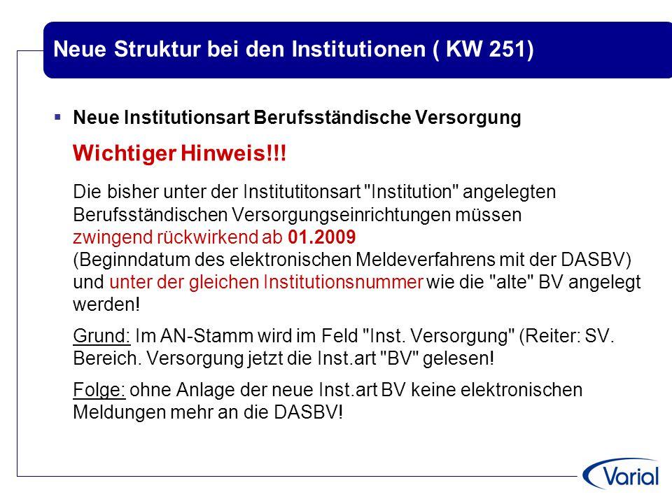 Neue Struktur bei den Institutionen ( KW 251)  Neue Institutionsart Berufsständische Versorgung Wichtiger Hinweis!!! Die bisher unter der Institutito