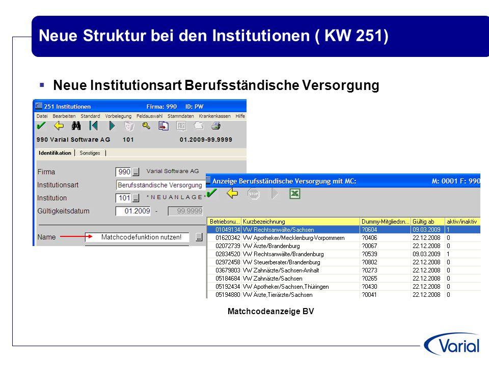 Neue Struktur bei den Institutionen ( KW 251)  Neue Institutionsart Berufsständische Versorgung Matchcodefunktion nutzen! Matchcodeanzeige BV