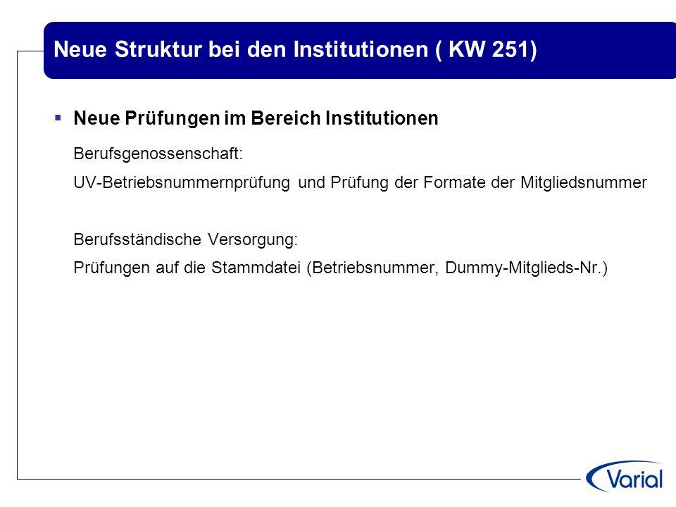 Neue Struktur bei den Institutionen ( KW 251)  Neue Prüfungen im Bereich Institutionen Berufsgenossenschaft: UV-Betriebsnummernprüfung und Prüfung de