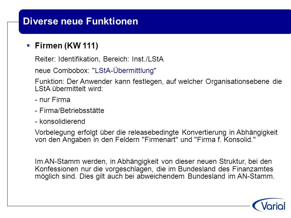 Diverse neue Funktionen  Firmen (KW 111) Reiter: Identifikation, Bereich: Inst./LStA neue Combobox:
