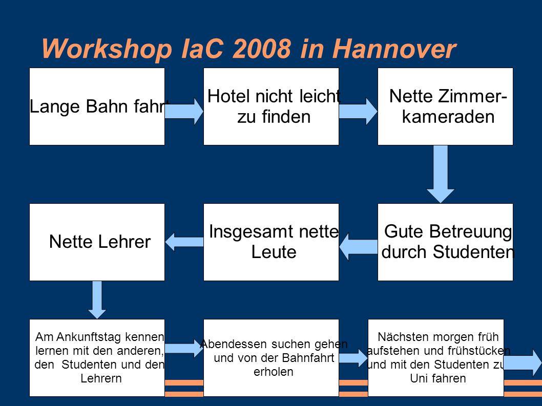 Workshop IaC 2008 in Hannover Lange Bahn fahrt Hotel nicht leicht zu finden Nette Zimmer- kameraden Gute Betreuung durch Studenten Insgesamt nette Leu