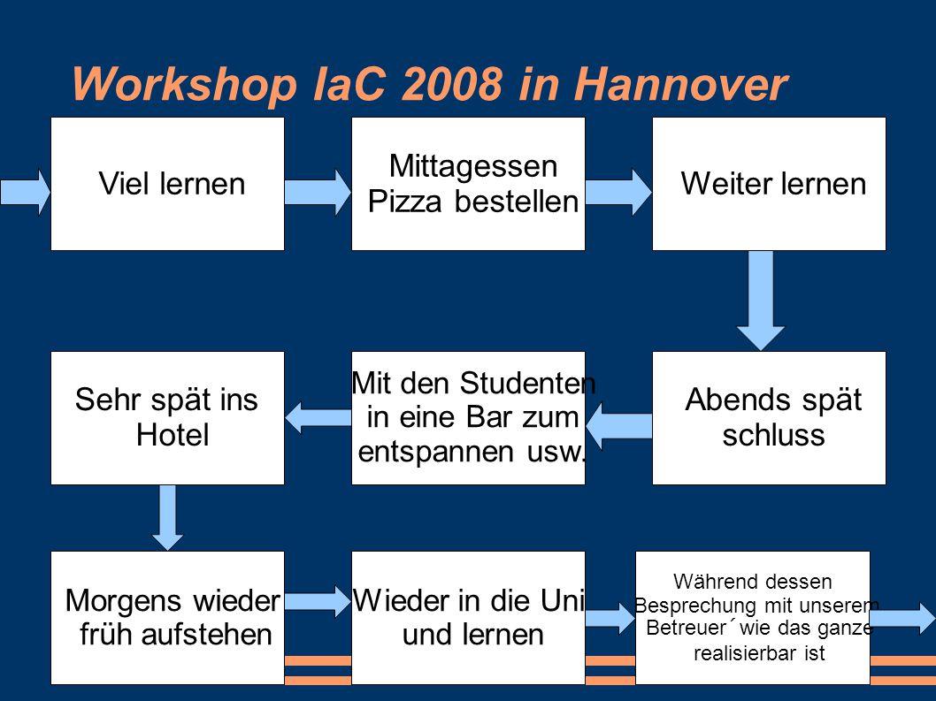Workshop IaC 2008 in Hannover Zum Mittag pause und zum Italiener zum essen Dabei weiter kennenlernen der anderen Teilnehmer Nach dem Mittag zurück zur Uni Wieder lernen Frühen Nachmittag schluss und auf den Heimweg machen Lange Bahnfahrt Ankunft Zuhause