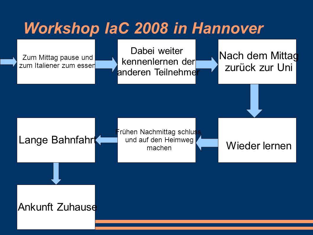 Workshop IaC 2008 in Hannover Zum Mittag pause und zum Italiener zum essen Dabei weiter kennenlernen der anderen Teilnehmer Nach dem Mittag zurück zur
