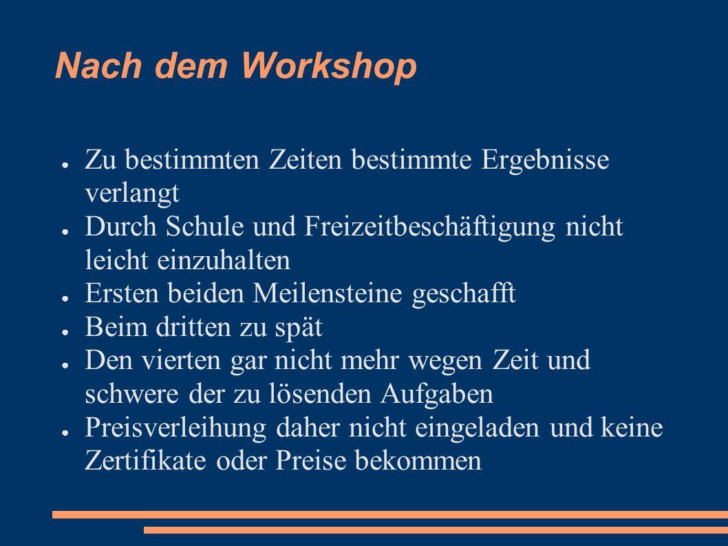 Nach dem Workshop ● Zu bestimmten Zeiten bestimmte Ergebnisse verlangt ● Durch Schule und Freizeitbeschäftigung nicht leicht einzuhalten ● Ersten beid