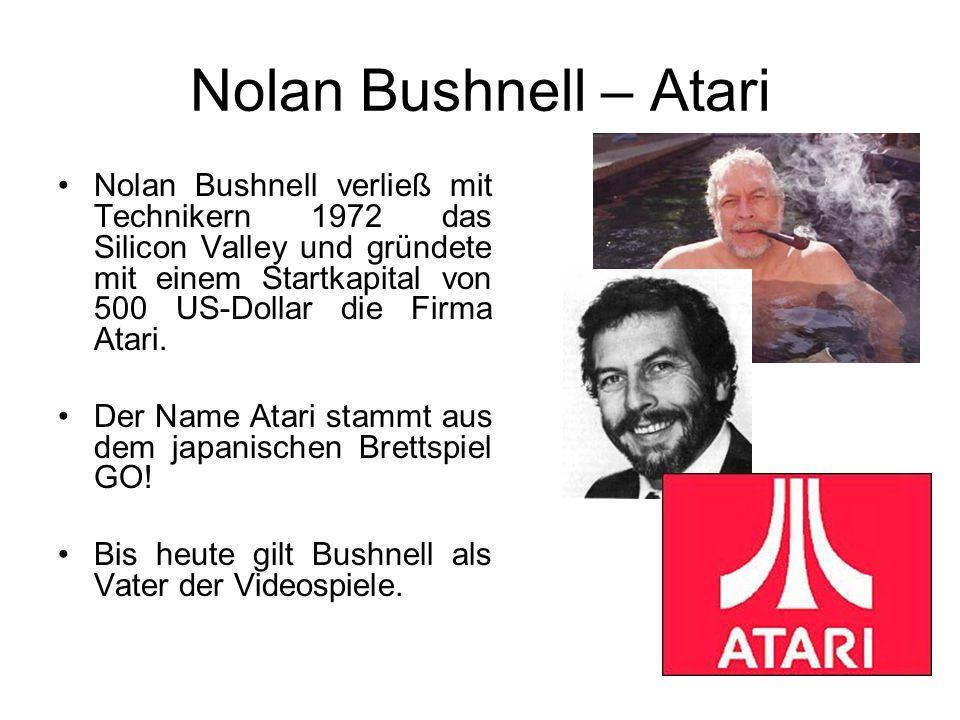 Nolan Bushnell – Atari Nolan Bushnell verließ mit Technikern 1972 das Silicon Valley und gründete mit einem Startkapital von 500 US-Dollar die Firma Atari.