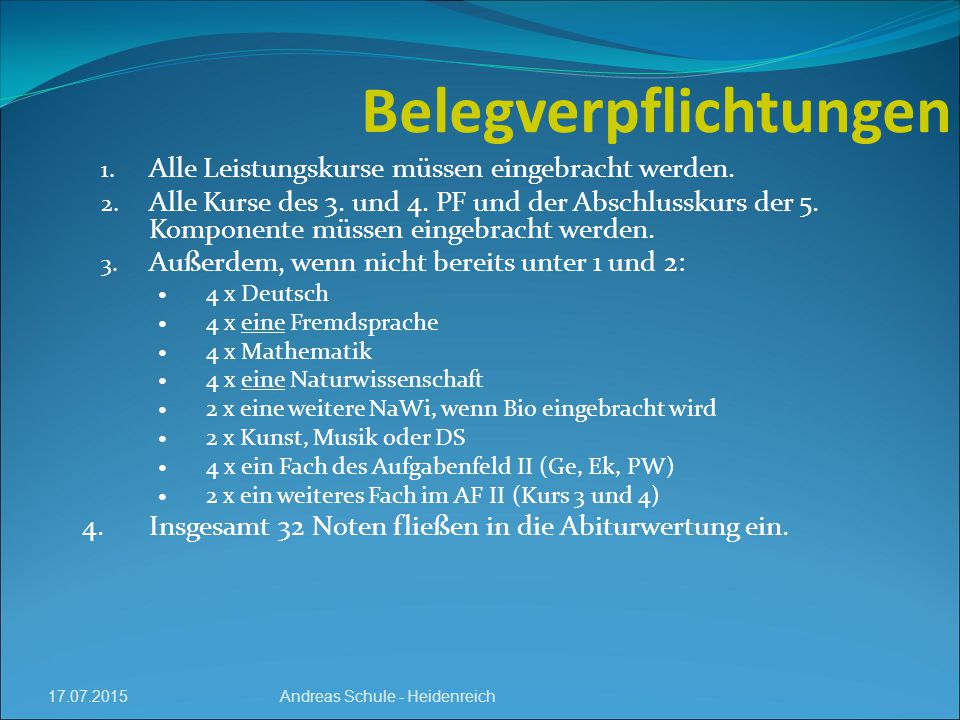 17.07.2015 Belegverpflichtungen Andreas Schule - Heidenreich 1.