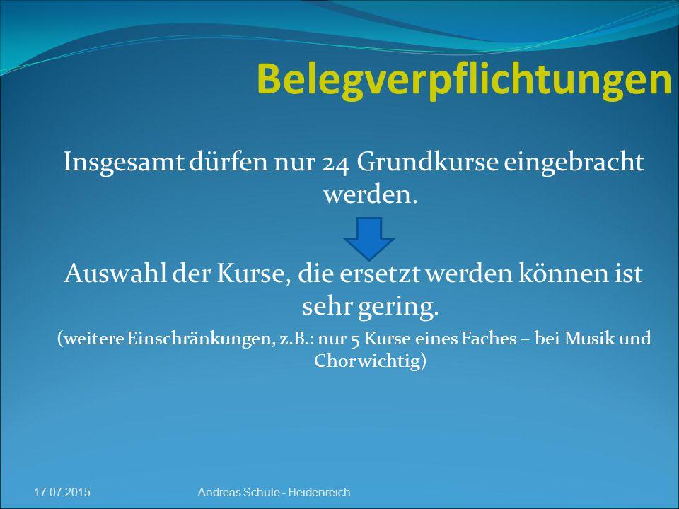 17.07.2015 Belegverpflichtungen Andreas Schule - Heidenreich Insgesamt dürfen nur 24 Grundkurse eingebracht werden.