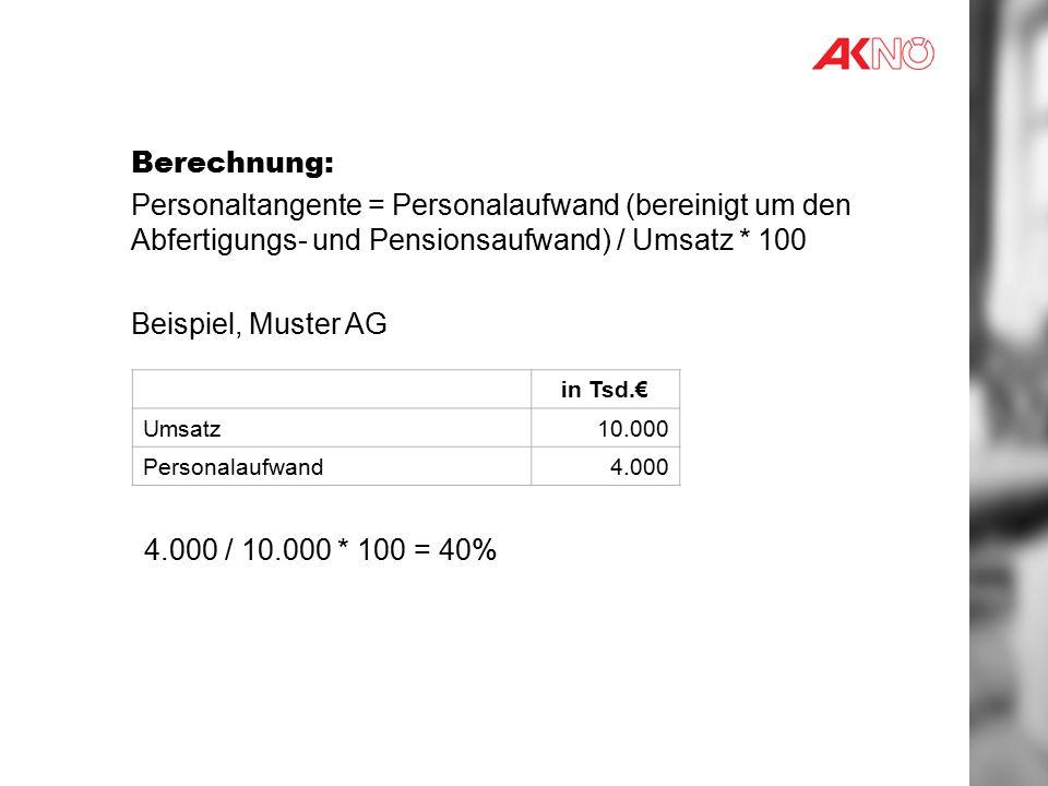 Berechnung: Personaltangente = Personalaufwand (bereinigt um den Abfertigungs- und Pensionsaufwand) / Umsatz * 100 Beispiel, Muster AG in Tsd.€ Umsatz10.000 Personalaufwand4.000 4.000 / 10.000 * 100 = 40%