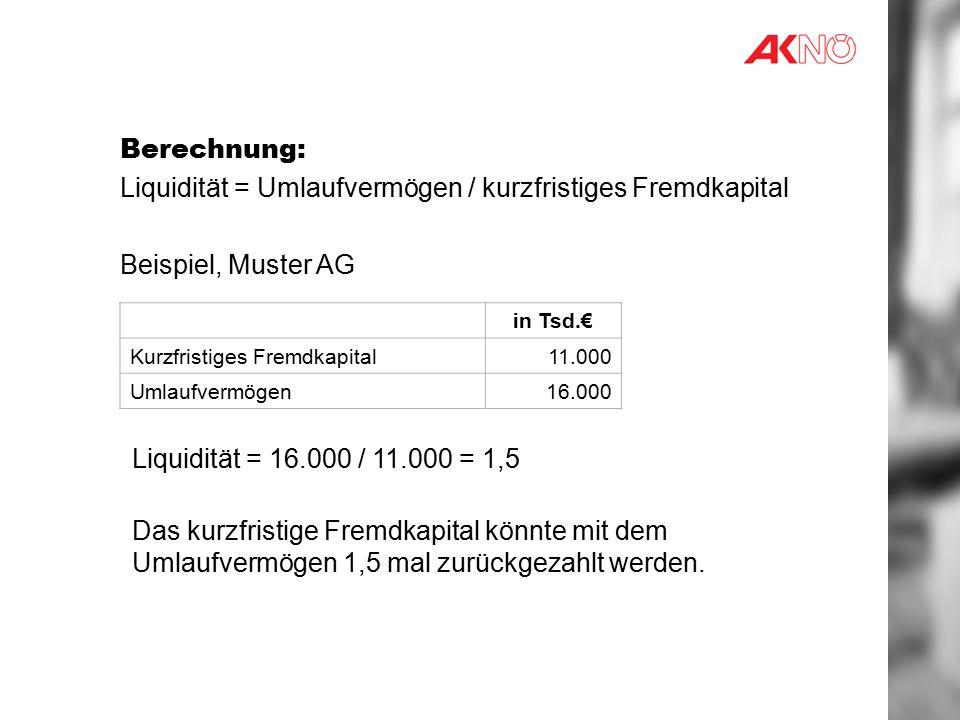 Berechnung: Liquidität = Umlaufvermögen / kurzfristiges Fremdkapital Beispiel, Muster AG in Tsd.€ Kurzfristiges Fremdkapital11.000 Umlaufvermögen16.000 Liquidität = 16.000 / 11.000 = 1,5 Das kurzfristige Fremdkapital könnte mit dem Umlaufvermögen 1,5 mal zurückgezahlt werden.