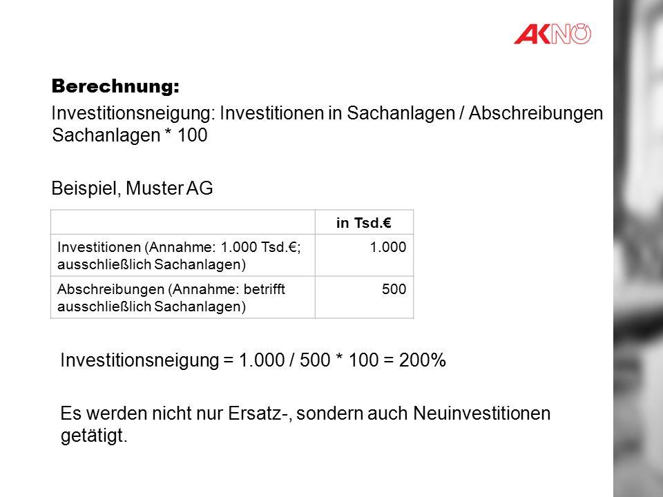 Berechnung: Investitionsneigung: Investitionen in Sachanlagen / Abschreibungen Sachanlagen * 100 Beispiel, Muster AG in Tsd.€ Investitionen (Annahme: 1.000 Tsd.€; ausschließlich Sachanlagen) 1.000 Abschreibungen (Annahme: betrifft ausschließlich Sachanlagen) 500 Investitionsneigung = 1.000 / 500 * 100 = 200% Es werden nicht nur Ersatz-, sondern auch Neuinvestitionen getätigt.