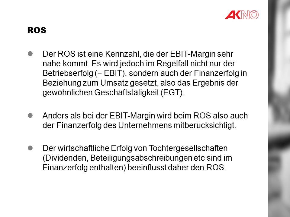 ROS Der ROS ist eine Kennzahl, die der EBIT-Margin sehr nahe kommt.