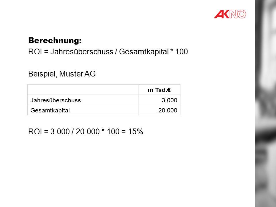 Berechnung: ROI = Jahresüberschuss / Gesamtkapital * 100 Beispiel, Muster AG ROI = 3.000 / 20.000 * 100 = 15% in Tsd.€ Jahresüberschuss3.000 Gesamtkapital20.000