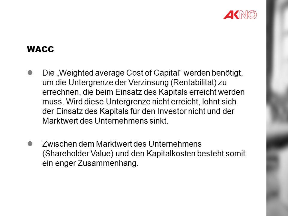"""WACC Die """"Weighted average Cost of Capital werden benötigt, um die Untergrenze der Verzinsung (Rentabilität) zu errechnen, die beim Einsatz des Kapitals erreicht werden muss."""