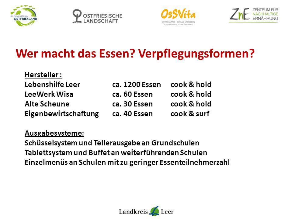 Wer macht das Essen? Verpflegungsformen? Hersteller : Lebenshilfe Leer ca. 1200 Essen cook & hold LeeWerk Wisa ca. 60 Essencook & hold Alte Scheune ca