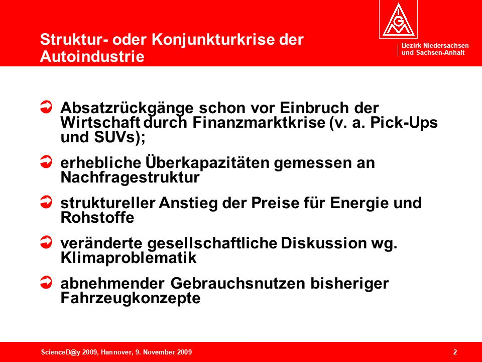 Bezirk Niedersachsen und Sachsen-Anhalt 2ScienceD@y 2009, Hannover, 9. November 2009 Struktur- oder Konjunkturkrise der Autoindustrie Absatzrückgänge