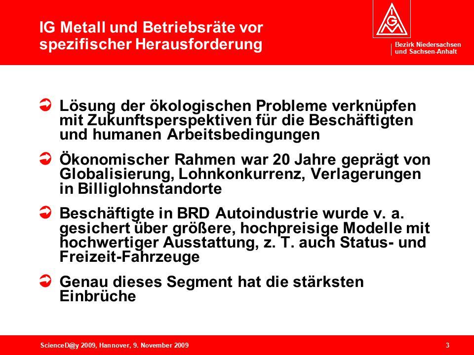 Bezirk Niedersachsen und Sachsen-Anhalt 3ScienceD@y 2009, Hannover, 9. November 2009 IG Metall und Betriebsräte vor spezifischer Herausforderung Lösun