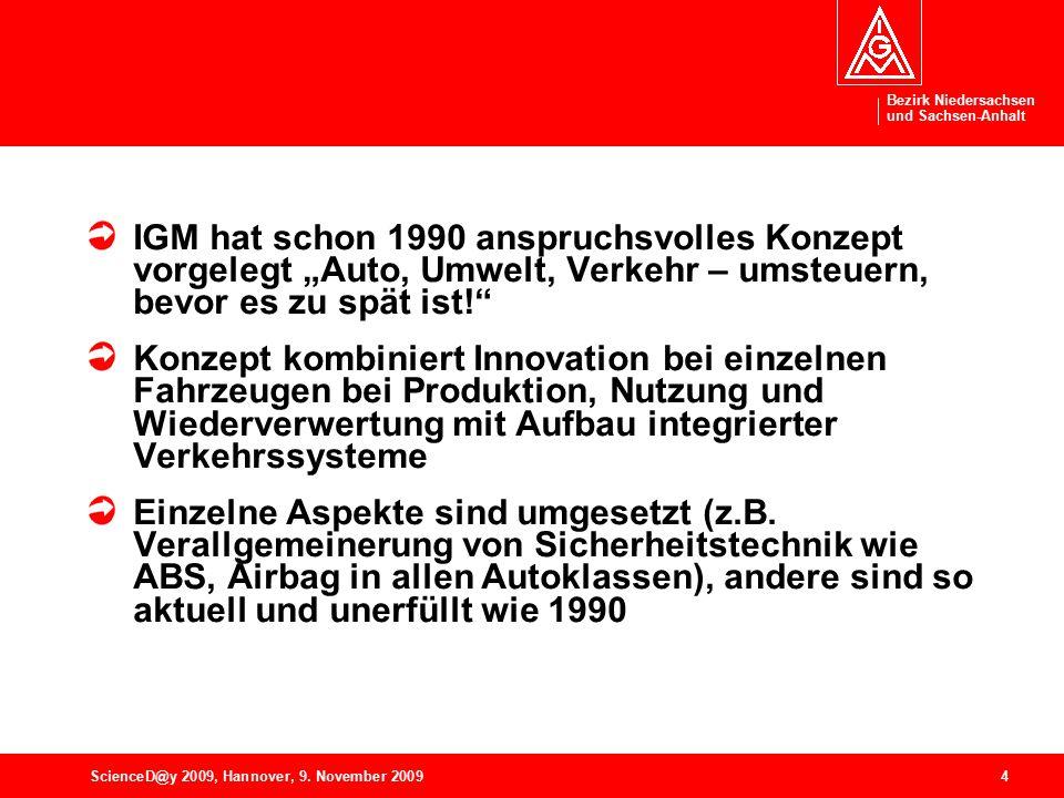 """Bezirk Niedersachsen und Sachsen-Anhalt 4ScienceD@y 2009, Hannover, 9. November 2009 IGM hat schon 1990 anspruchsvolles Konzept vorgelegt """"Auto, Umwel"""